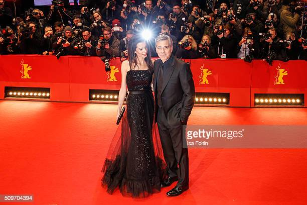 George Clooney and his wife Amal Clooney attend the 'Hail Caesar' Premiere during the 66th Berlinale International Film Festival on February 11 2016...