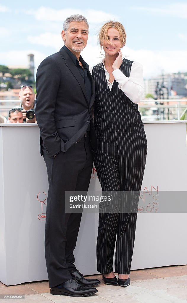 George Clooney and Julia Roberts attend the 'Money Monster' Photocall at the annual 69th Cannes Film Festival at Palais des Festivals on May 12, 2016 in Cannes, France.
