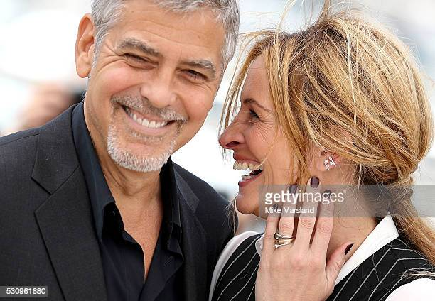 George Clooney and Julia Roberts attend the 'Money Monster' photocall during the 69th annual Cannes Film Festival at the Palais des Festivals on May...