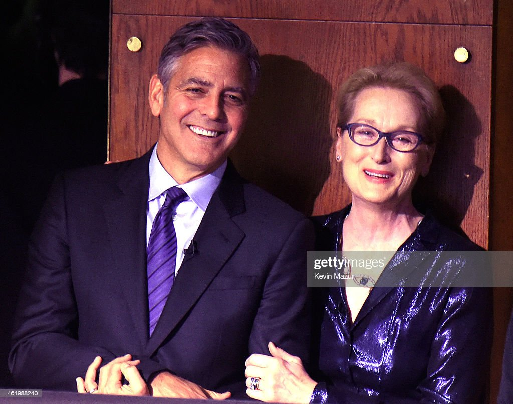George Clooney and Meryl Streep attend SeriousFun Children's Network 2015 New York Gala: An Evening Of SeriousFun Celebrating the Legacy Of Paul Newman at Avery Fisher Hall at Lincoln Center for the Performing Arts on March 2, 2015 in New York City.