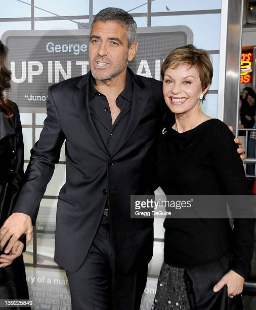 George Clooney and mom Nina Bruce Clooney arrive at Up In The Air Los Angeles Premiere at Mann's Village Theater on November 30 2009 in Westwood...