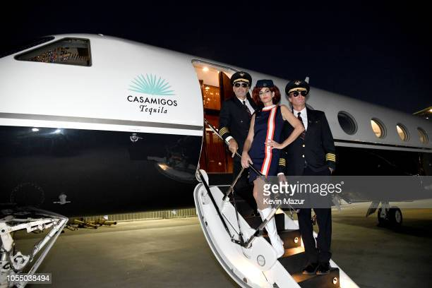 George Clooney and Rande Gerber take over the controls en route to Las Vegas for round two of the Casamigos Halloween party while Cindy Crawford...