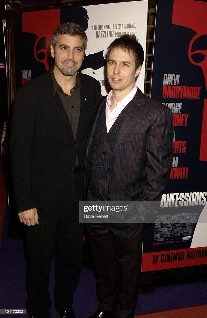 George Clooney And Sam Rockwell, Confessions Of A Dangerous Mind The Movie That Marks The Directorial Debut.premiered In London Last Night.and The Party Was At Elyceum At The Cafe Royal