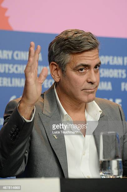 George Clooney attends 'The Monuments Men' press conference during 64th Berlinale International Film Festival at Grand Hyatt Hotel on February 8,...