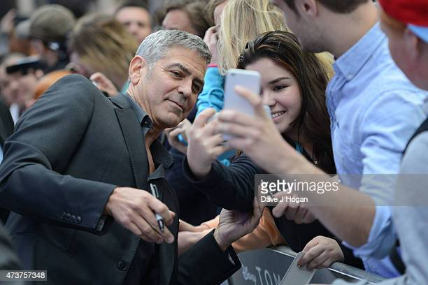 George Clooney attends the Tomorrowland A World Beyond European premiere at Leicester Square on May 17 2015 in London England