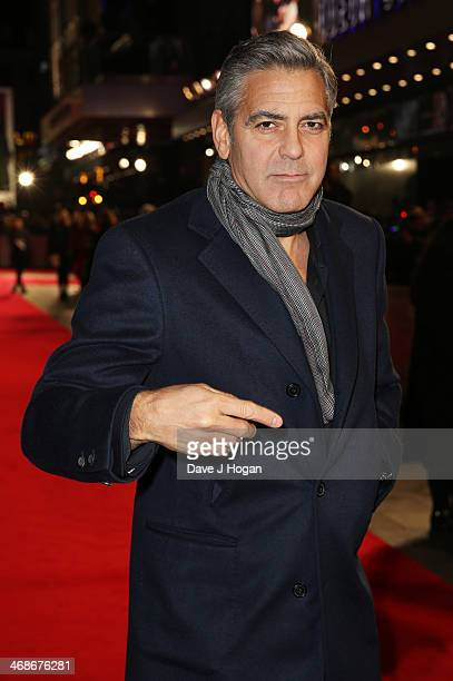 """George Clooney attends the UK premiere of """"The Monuments Men"""" at The Odeon Leicester Square on February 11, 2014 in London, England."""