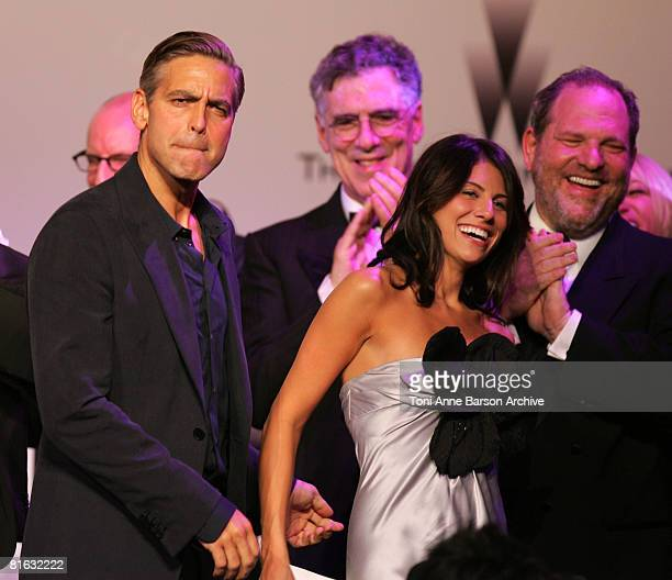 George Clooney auction winner and Harvey Weinstein at amfAR's Cinema Against AIDS event presented by Bold Films the MAC AIDS Fund and The Weinstein...