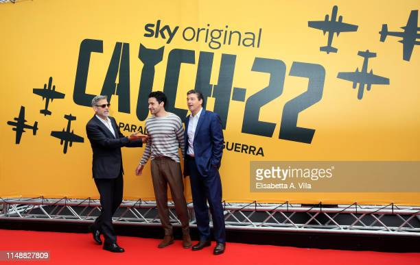 George Clooney, Christopher Abbott and Kyle Chander attend 'Catch-22' Photocall, a Sky production, at The Space Moderno Cinema on May 13, 2019 in...
