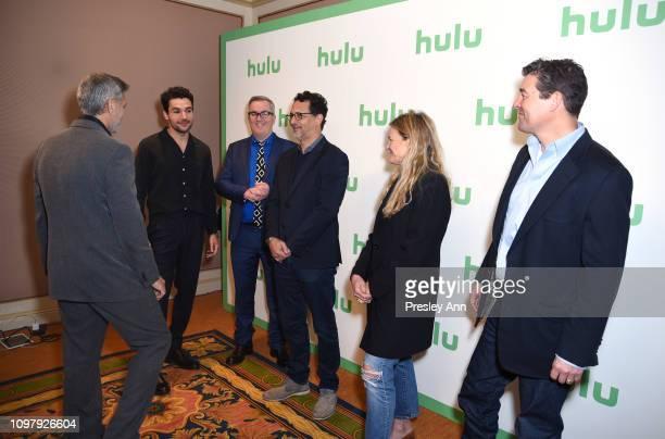 George Clooney Christopher Abbott Luke Davies Grant Heslov Ellen Kuras and Kyle Chandler attend the Hulu Panel during the Winter TCA 2019 on February...