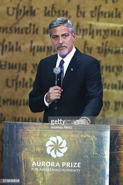 George Clooney CoChair of the Selection Committee honors Aurora Prize Laureate Marguerite Barankitse and finalists Syeda Ghulam Fatima Father Bernard...