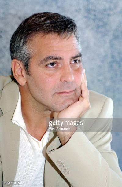 George Clooney during Ocean's Twelve Press Conference with George Clooney Catherine ZetaJones and Matt Damon at Bighorn Golf Club in Palm Desert...
