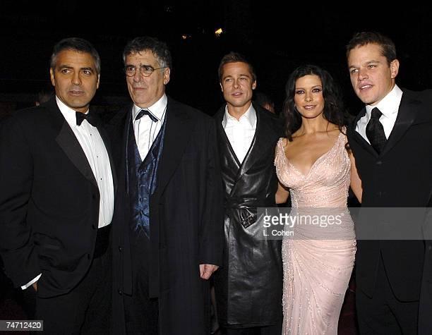 George Clooney Elliott Gould Brad Pitt Catherine ZetaJones and Matt Damon at the Grauman's Chinese Theater in Los Angeles California