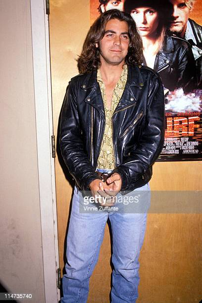 "George Clooney in Los Angeles in 1990 promoting their film ""Red Surf"""