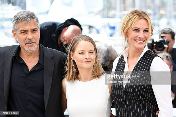 George Clooney Jodie Foster and Julia Roberts attend the 'Money Monster' photocall during the 69th annual Cannes Film Festival at the Palais des...