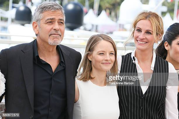 George Clooney Jodie Foster and Julia Roberts attend the 'Money Monster' Photocall during the 69th annual Cannes Film Festival on May 12 2016 in...