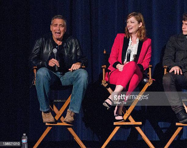George Clooney Judy Greer and Nick Krause talk after the Screen Actors Guild special screening of The Descendants at Harmony Gold Theatre on February...