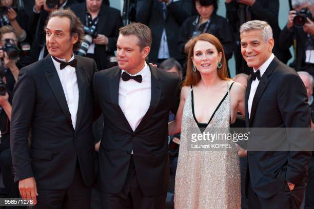 George Clooney Julianne Moore Matt Damon and Alexandre Desplat walk the red carpet ahead of the 'Suburbicon' screening during the 74th Venice Film...