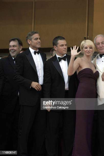 "George Clooney, Matt Damon, and Ellen Barkin during 2007 Cannes Film Festival - ""Ocean's Thirteen"" Premiere at Palais des Festivals in Cannes, France."