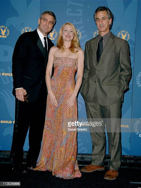 George Clooney nominee for Best Directing in a Feature Film for 'Good Night and Good Luck' Patricia Clarkson and David Strathairn