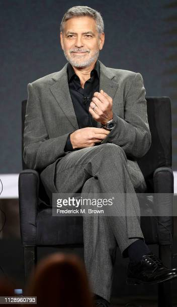 """George Clooney of the television show """"Catch 22"""" speaks during the Hulu segment of the 2019 Winter Television Critics Association Press Tour at The..."""