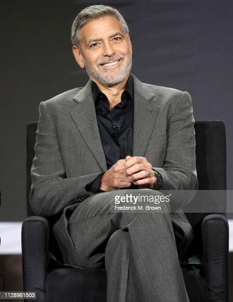 George Clooney of the television show Catch 22 speaks during the Hulu segment of the 2019 Winter Television Critics Association Press Tour at The...