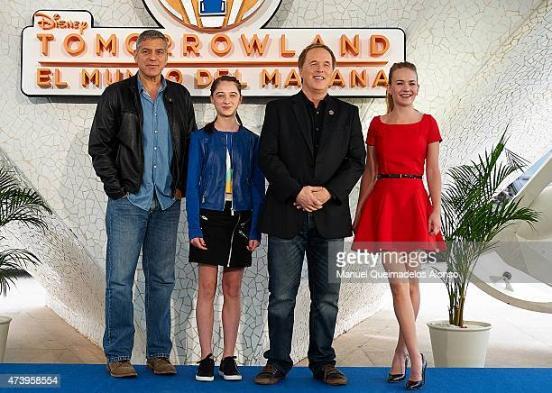 George Clooney Raffey Cassidy Brad Bird and Britt Robertson pose at a photocall for 'Tomorrowland' at the L'Hemisferic on May 19 2015 in Valencia...