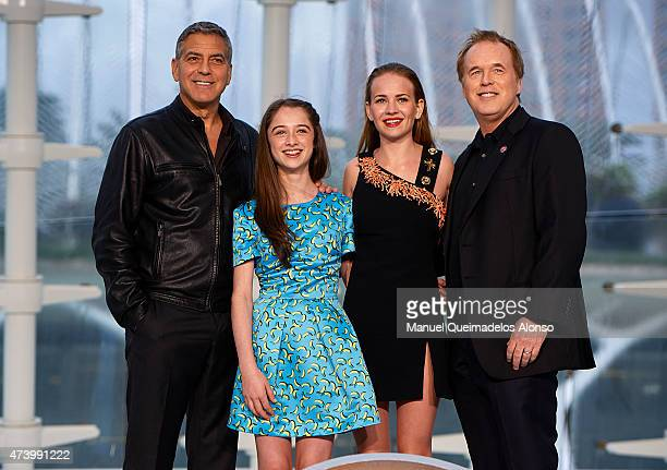 George Clooney Raffey Cassidy Britt Robertson and Brad Bird attend the premiere of Disney's 'Tomorrowland' at the L'Hemisferic on May 19 2015 in...