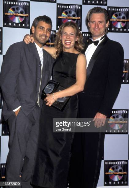 George Clooney Sandra Bullock and Bill Pullman during 1st Annual Blockbuster Entertainment Awards at Pantages Theater in Hollywood California United...