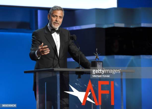 George Clooney speaks onstage at the American Film Institute's 46th Life Achievement Award Gala Tribute to George Clooney at Dolby Theatre on June 7...