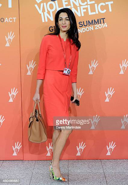 George Clooney's girlfriend Amal Alamuddin attends the Global Summit to end Sexual Violence in Conflict at ExCel on June 12, 2014 in London, England.