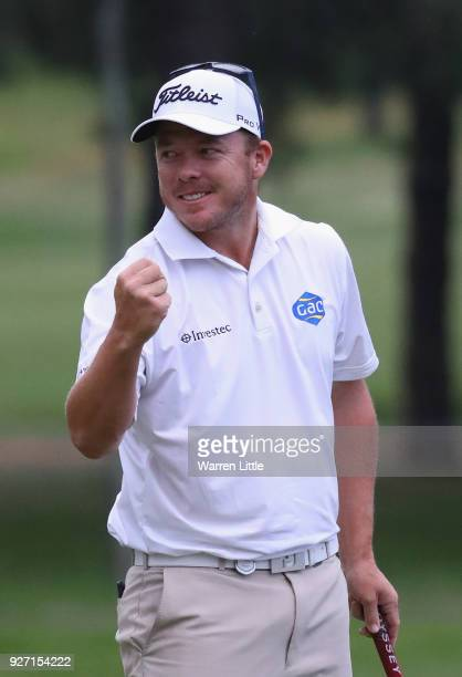 George Coetzee of South Africa celebrates winning the Tshwane Open at Pretoria Country Club on March 4 2018 in Pretoria South Africa