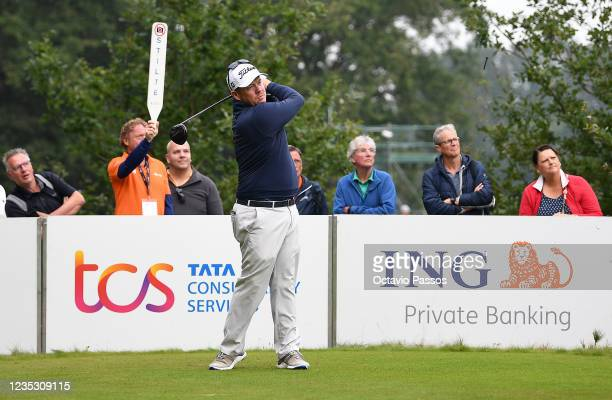 George Coetzee of South Africa plays his tee shot to the 10th hole during Day Two of the Dutch Open at Bernardus Golf on September 17, 2021 in...