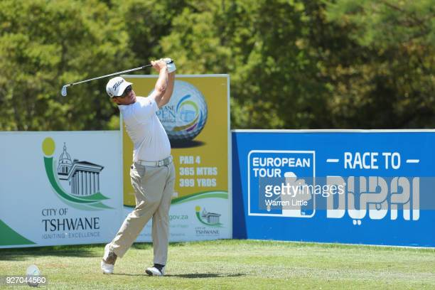 George Coetzee of South Africa tees off on the third hole during the final round of the Tshwane Open at Pretoria Country Club on March 4 2018 in...