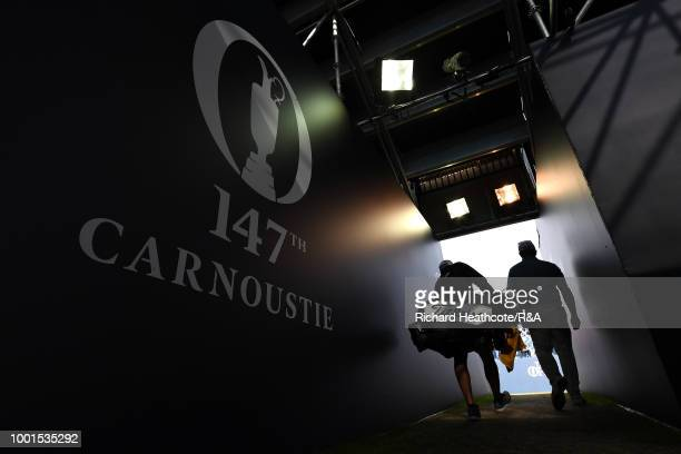 George Coetzee of South Africa walks towards the first tee during round one of the 147th Open Championship at Carnoustie Golf Club on July 19 2018 in...