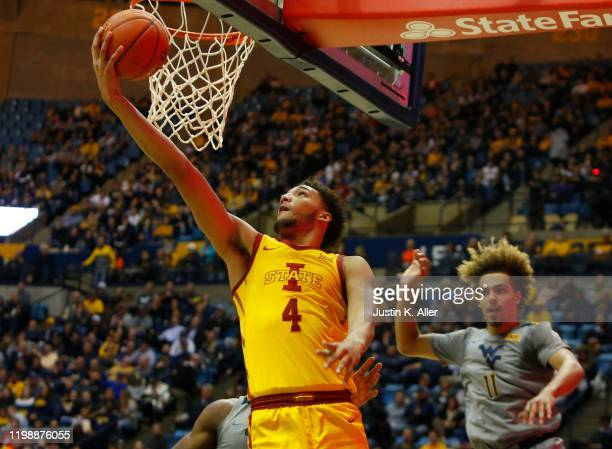 George Conditt IV of the Iowa State Cyclones lays one in against the West Virginia Mountaineers at the WVU Coliseum on February 5 2020 in Morgantown...