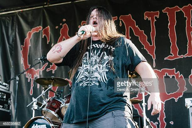 George Corpsegrinder Fisher of Cannibal Corpse the Rockstar Energy Drink Mayhem Festival at Lakewood Amphitheatre on August 5 2014 in Atlanta Georgia