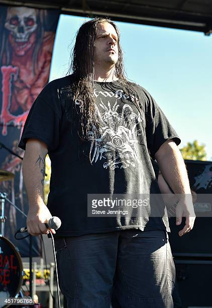 George Corpsegrinder of Cannibal Corpse performs at Rockstar Energy Drink Mayhem Festival at Shoreline Amphitheatre on July 6 2014 in Mountain View...
