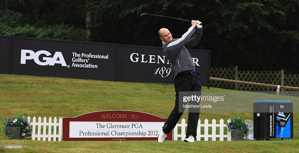 George Cowan of Westerhope Golf Club tees off on the 1st hole during day one of the Glenmuir PGA Professional Championship at Carden Park Golf Club on August 7, 2012 in Chester, England.