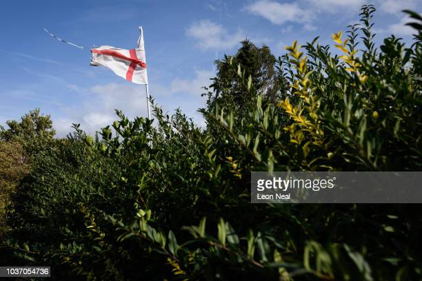 George Cross flag flies over the Eldon Street North allotments on September 19 2018 in Barnsley England Surrounded by a number of smaller villages...