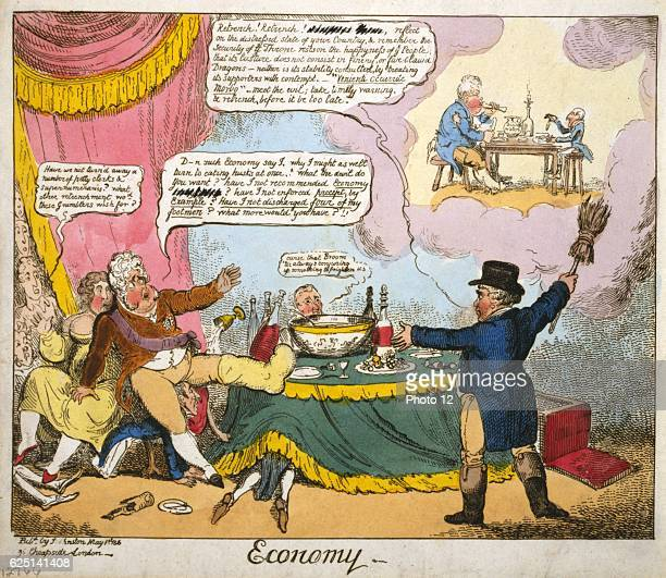 George Cruikshank American school Economy_Lord Brougham as John Bull calling on the Prince Regent to retrench and curb his extravagance and to think...