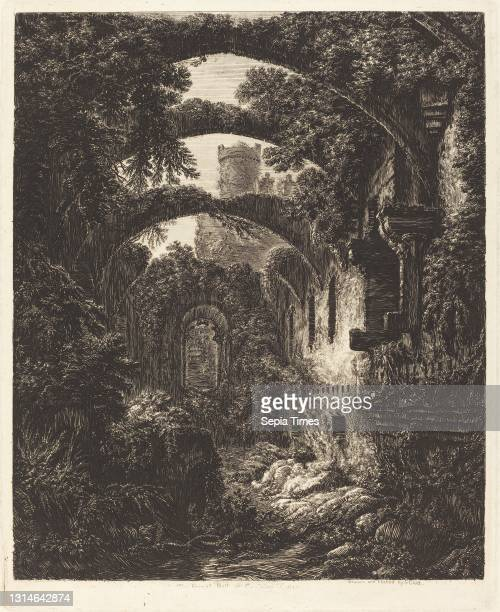 George Cuitt the Younger, , British, 1779 - 1854, The Great Hall at Conway Castle, etching.