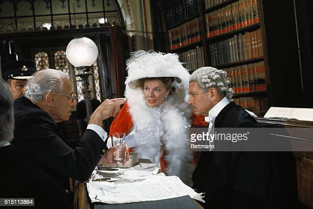 George Cukor directs 65yearold Katharine Hepburn and 67yearold Sir Laurence Olivier in a scene during filming in London of Love Among the Ruins an...