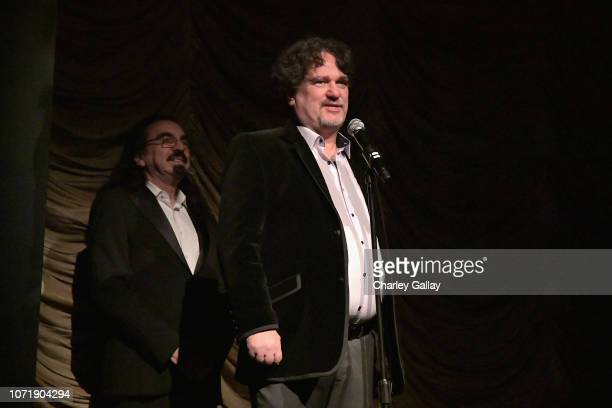 George DiCaprio and Irek Dobrowolski speak onstage during the Struggle The Life Lost Art of Szukalski special screening at LACMA on December 11 2018...