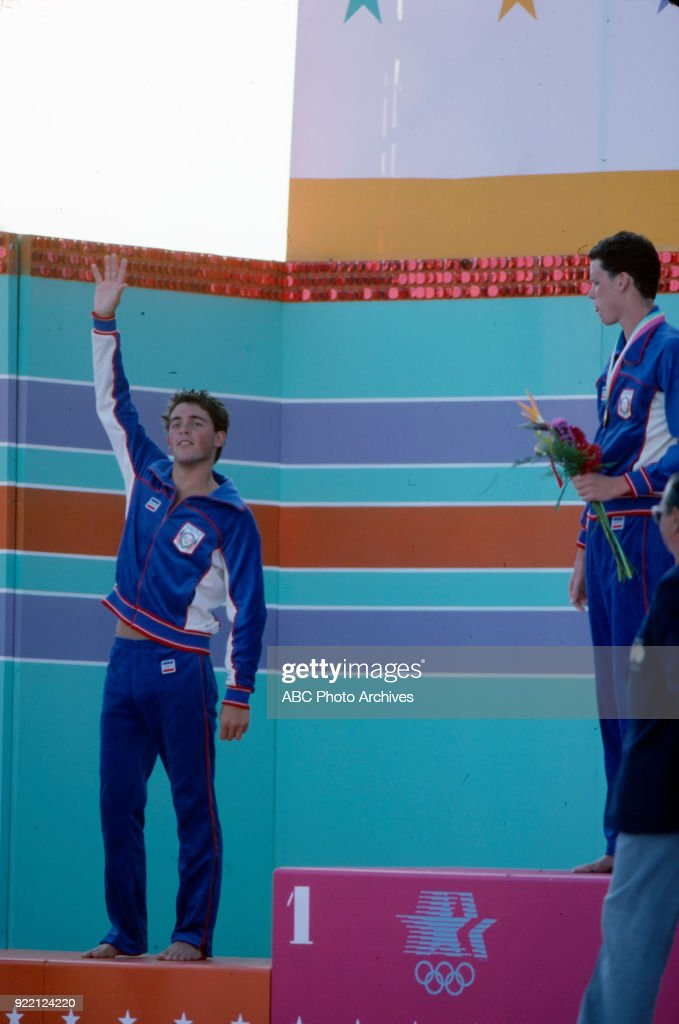 Men's Swimming 1500 Metre Freestyle Medal Ceremony At The 1984 Summer Olympics : News Photo