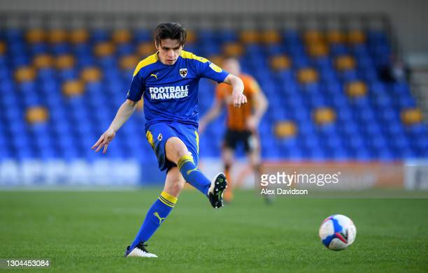 George Dobson of AFC Wimbledon passes the ball during the Sky Bet League One match between AFC Wimbledon and Hull City at Plough Lane on February 27,...