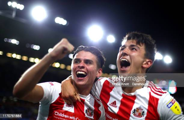 George Dobson of Sunderland AFC celebrates scoring his teams third goal during the Carabao Cup Second Round match between Burnley FC and Sunderland...