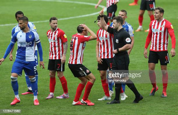 George Dobson of Sunderland is sent off during the Sky Bet League One match between Sunderland and Bristol Rovers at Stadium of Light on September...