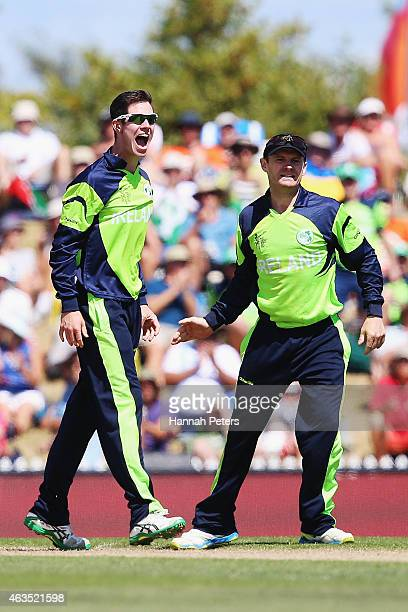 George Dockrell of Ireland celebrates the wicket of Denesh Ramdin of West Indies during the 2015 ICC Cricket World Cup match between the West Indies...