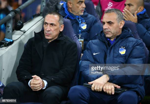 George Donis manager of Apoel Nicosia during the Champions League Group G match between Tottenham Hotspur and Apoel Nicosia at Wembley stadium London...