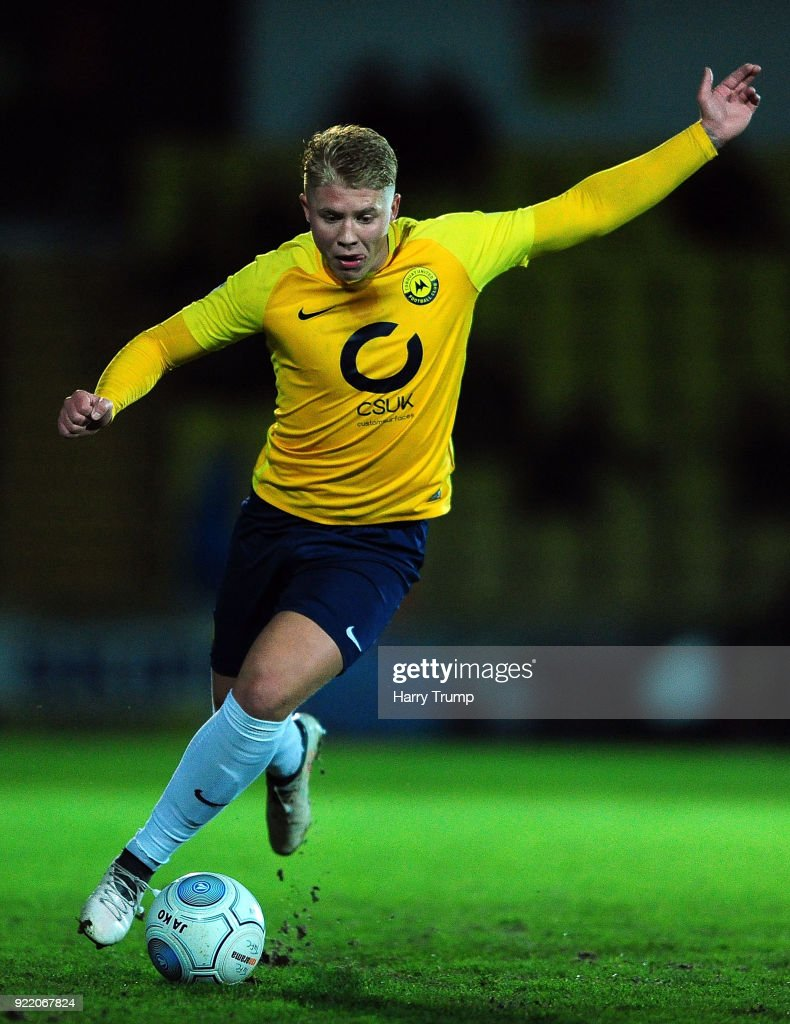 George Dowling of Torquay United during the Vanarama National League match between Torquay United and Sutton United at Plainmoor on February 20, 2018 in Torquay, England.
